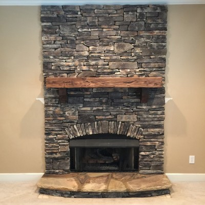 Synthetic stone fireplace in Roswell Ga