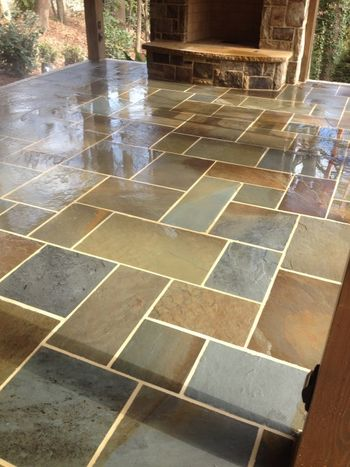 Mixed Color Bluestone Flooring with Antique Buff Mortar in Sandy Springs, GA