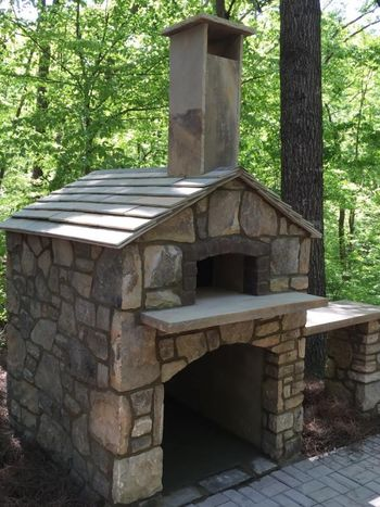 Outdoor Stone Pizza Oven with Stone Shingles in Gainsville, GA