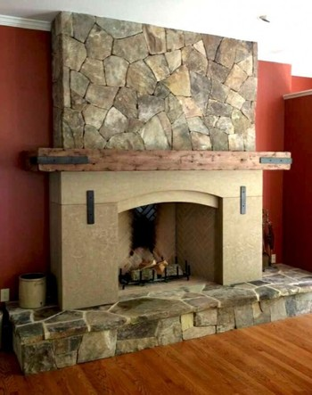 TN Fieldstone and Rustic Limestone Fireplace in Buckhead, GA
