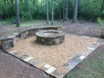 Firepit and Seating Bench in Cumming, GA