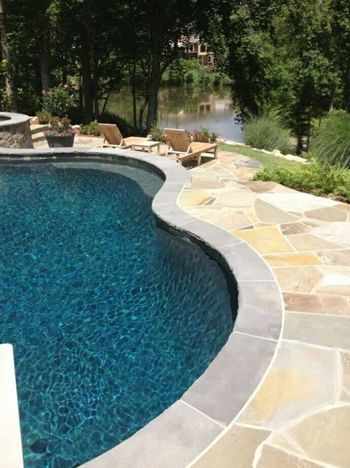 Bluestone Coping and Flagstone Pool Deck in Buckhead, GA