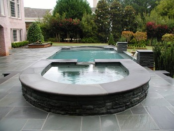 Pool with Bluestone Deck and Thermal Finished Coping in Duluth, GA