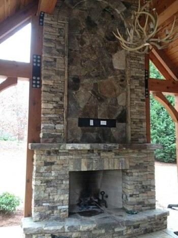 Rustic Fieldstone Outdoor Fireplace in Duluth, GA