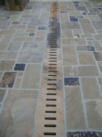 Stone Pool Deck Drain Cut with Water Jet