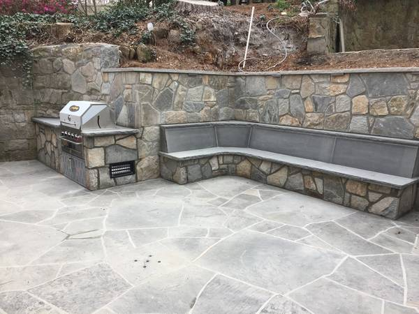 Outdoor Patio, Retaining Wall, Grill & Bench with Weathered Granite Mix & Bluestone Tops in Atlanta, GA (5)