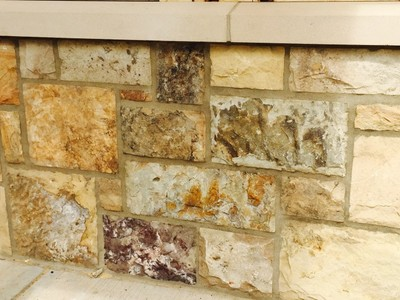 TN Fieldstone in Ashlar patten with Buff mortar joint and cast stone cap Gainsville Ga