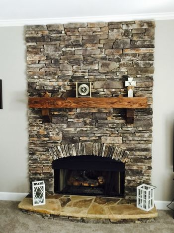 Custom Synthetic Stone Fireplace GA