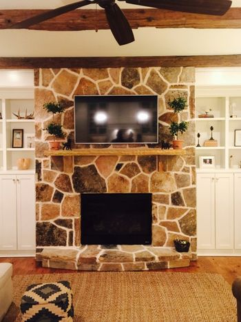 Fieldstone fireplace