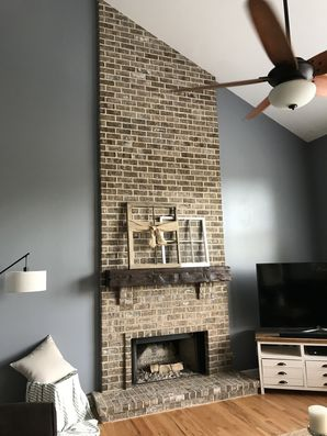 Before & After Fireplace Makeover: Mosstown Brick with Antique Buff Mortar & Distressed Beam Mantle in Hamilton Mill (2)