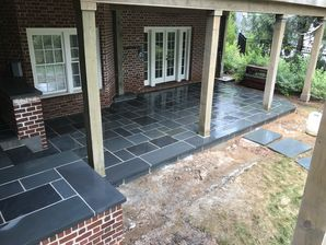 Before & After Patio Makeover: Natural Cleft Bluestone Flooring & Thermal Bluestone Border in Atlanta GA (2)
