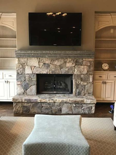 Custom Pattern TN Fieldstone Fireplace with Bluestone Mantle in Duluth, GA (1)