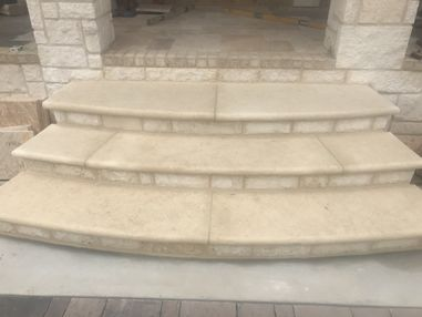 Texas Cream Limestone Steps in Duluth, GA (1)