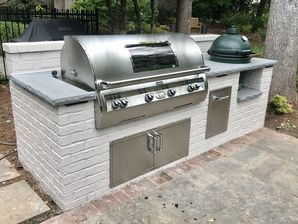 Outdoor Brick Grilling Station with Thermal Bluestone Countertop in Buckhead, Ga (1)