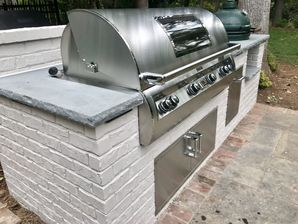 Outdoor Brick Grilling Station with Thermal Bluestone Countertop in Buckhead, Ga (2)