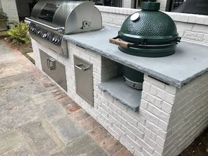 Outdoor Brick Grilling Station with Thermal Bluestone Countertop in Buckhead, Ga (3)