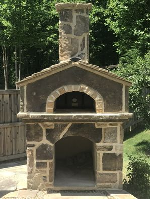 Stone Pizza Oven with Stone Roof Tiles in Cumming, Ga (1)