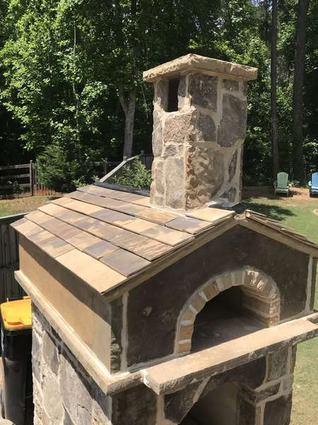 Stone Pizza Oven with Stone Roof Tiles in Cumming, Ga (3)