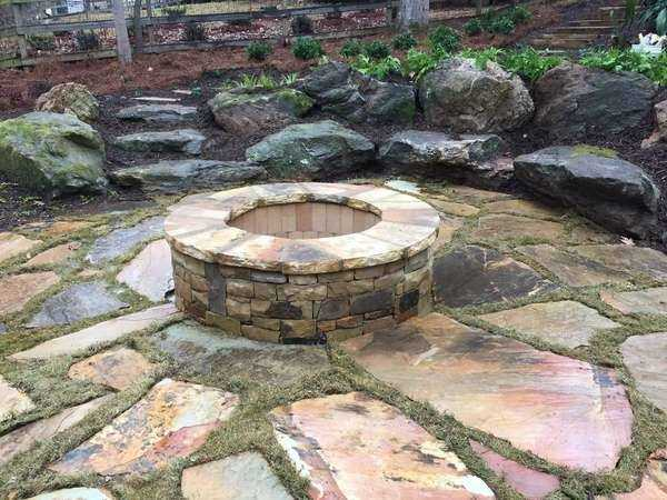 Stone Fire Pit & Seating Bench in Sugarhill, GA (1)
