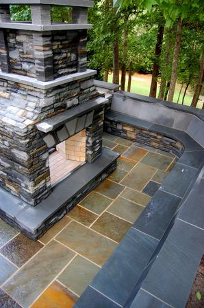 Drystacked Pennsylvania Bluestone Outdoor Fireplace in Suwanee, GA (1)