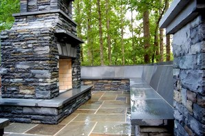 Drystacked Pennsylvania Bluestone Outdoor Fireplace in Suwanee, GA (3)