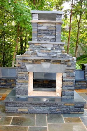 Drystacked Pennsylvania Bluestone Outdoor Fireplace in Suwanee, GA (2)