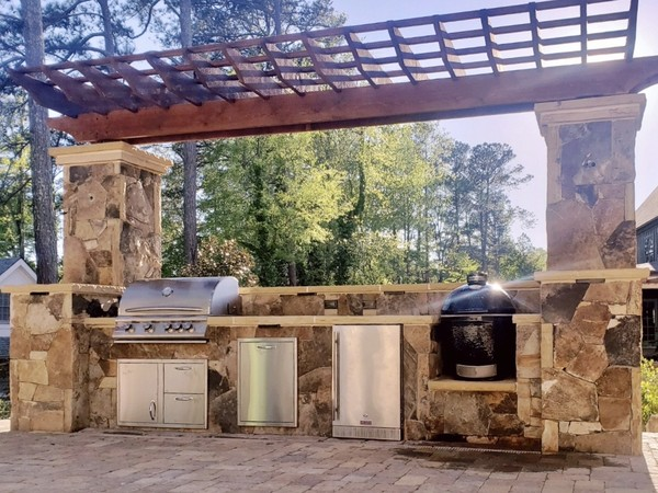 Outdoor Grilling Station with Cedar Arbor Installation in Marietta, GA (1)